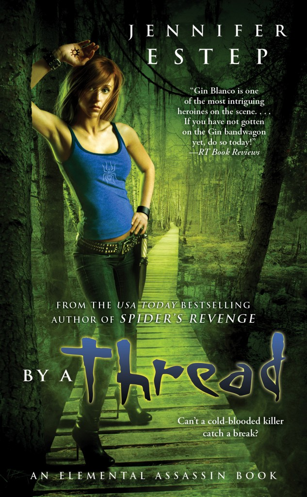 Jennifer Estep she is one of my favorites in the UF genre (and she is totally cool too )